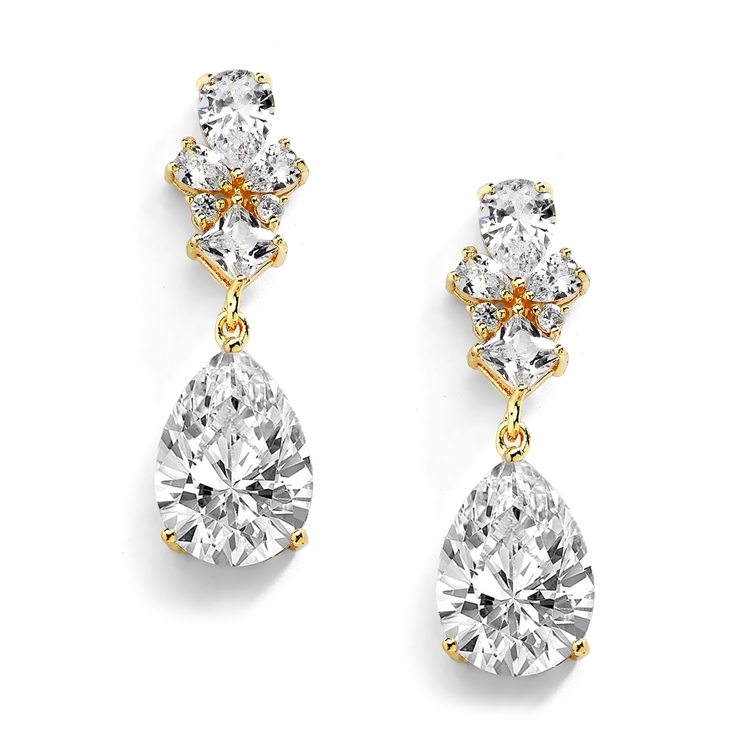 14K Gold Cubic Zirconia Teardrop Pear-Shaped Dangle Drop Wedding Earrings<br>4591E-G