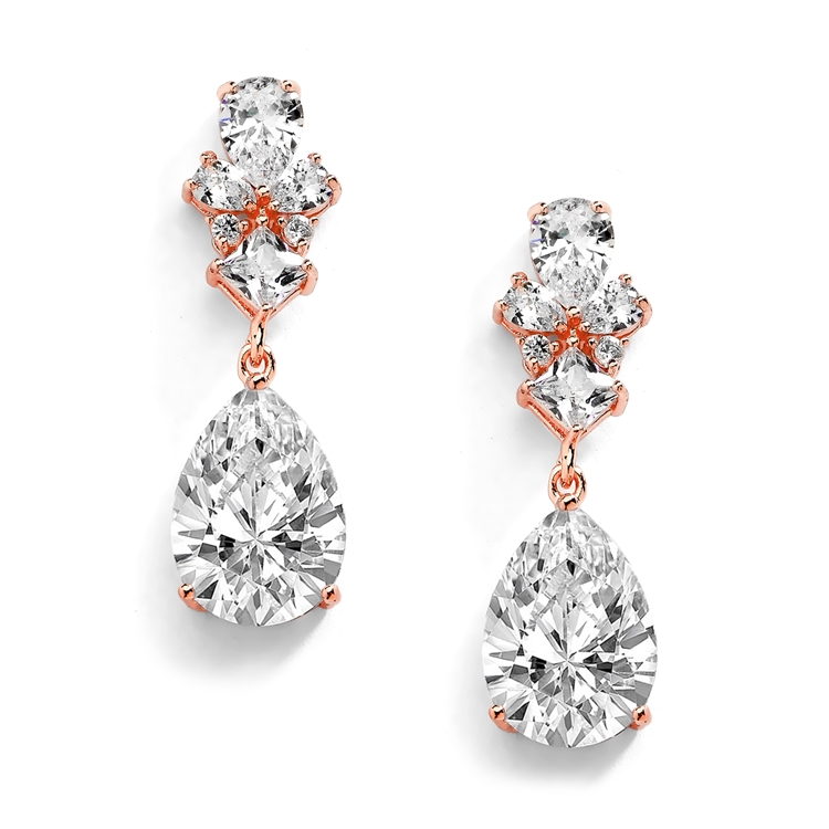 14K Rose Gold Cubic Zirconia Teardrop Pear-Shaped Dangle Drop Wedding Earrings<br>4591E-RG