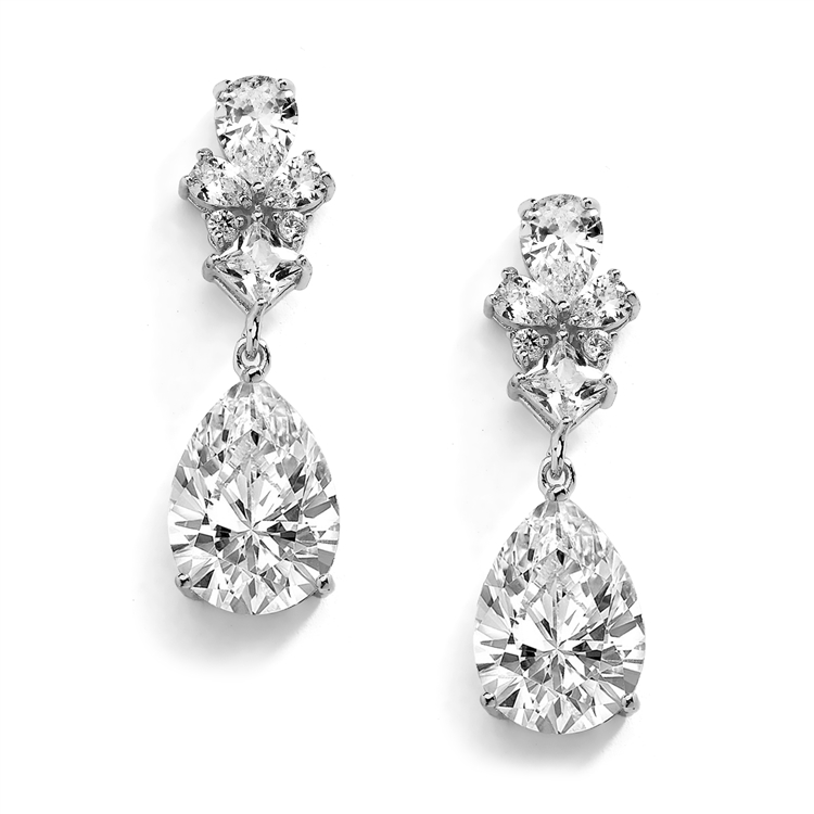 Silver Rhodium Cubic Zirconia Teardrop Pear-Shaped Dangle Drop Wedding Earrings<br>4591E-S