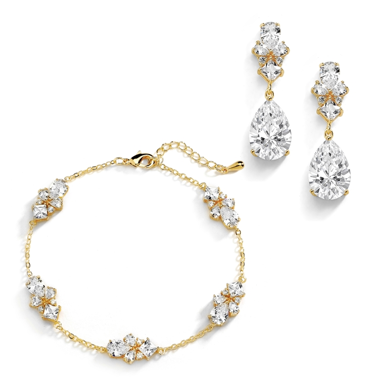 CZ Multi-Shape 14K Gold Plated Bracelet and Earrings Set with Adjustable Chain <br>4592BS-G