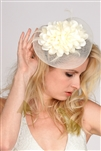 Ivory Bridal Cocktail Hat with Flower Petals, Organza Bow & Feathers<br>4593H-IV