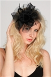 Black Organza Bridal Cocktail Hat with Feathers<br>4594H-BK