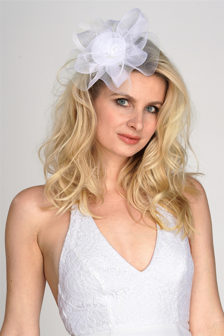 White Organza Bridal Cocktail Hat with Feathers<br>4594H-W