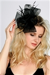 Black Bridal Cocktail Hat with Organza Bow & Feathers<br>4595H-BK