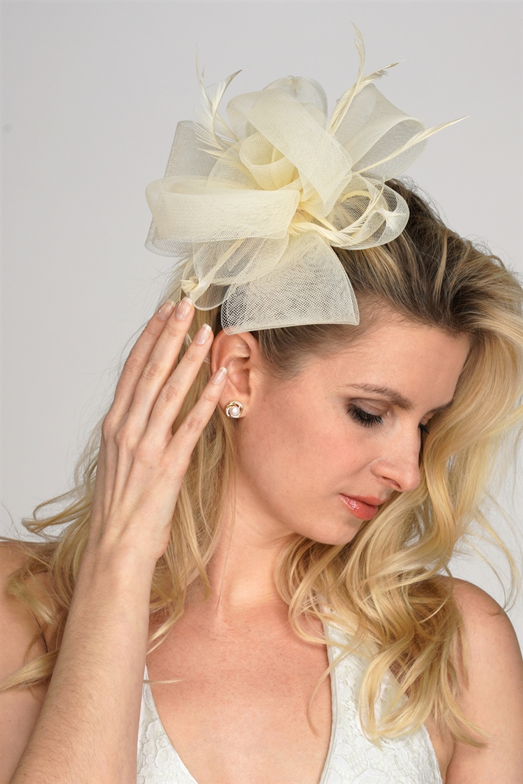 Ivory Bridal Cocktail Hat with Organza Bow & Feathers<br>4595H-IV