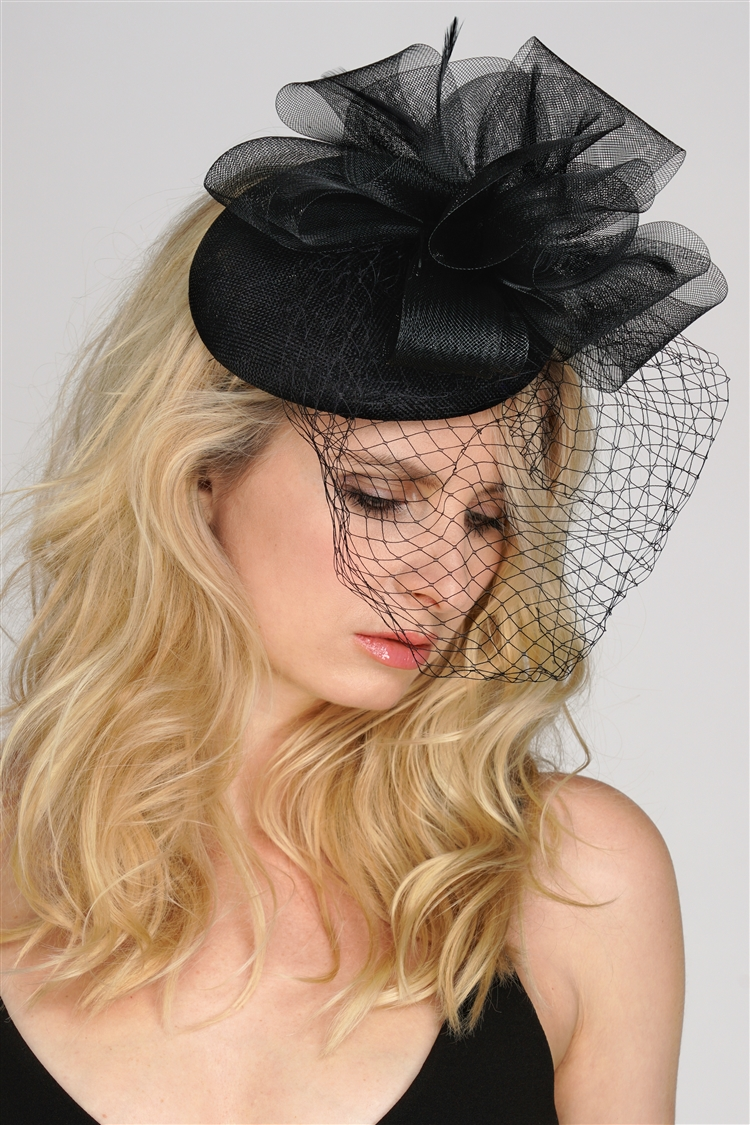 Black Bridal Cocktail Hat with Face Veil, Organza Bow & Feathers<br>4596H-BK