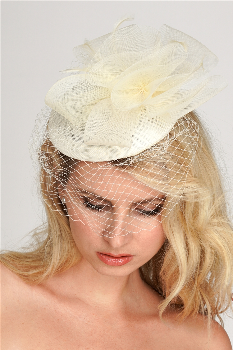 Ivory Bridal Cocktail Hat with Face Veil, Organza Bow & Feathers<br>4596H-IV