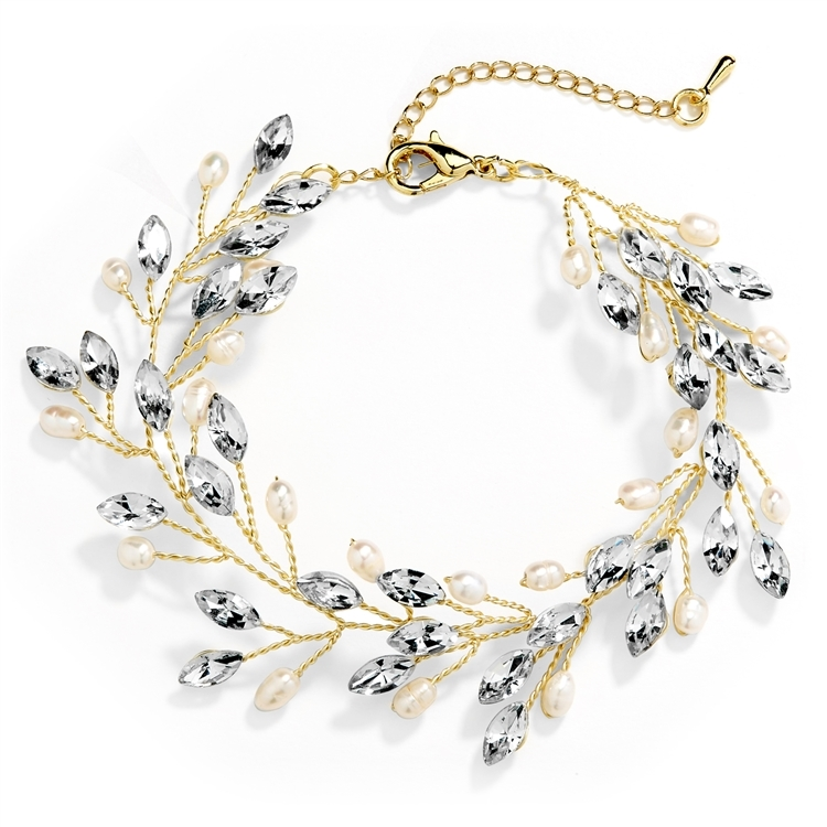 "Gold Jeweled Bracelet with Crystal Gems, Freshwater Pearls, Adjustable 7"" to 8 ½""<br>4597B-G"