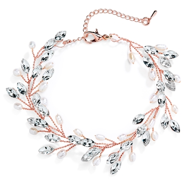 "Rose Gold Jeweled Bracelet with Crystal Gems, Freshwater Pearls, Adjustable 7"" to 8 ½""<br>4597B-G"
