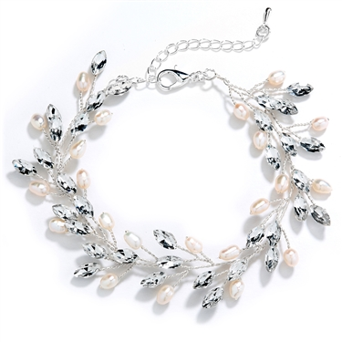 "Silver Jeweled Bracelet with Crystal Gems, Freshwater Pearls, Adjustable 7"" to 8 ½""<br>4597B-S"