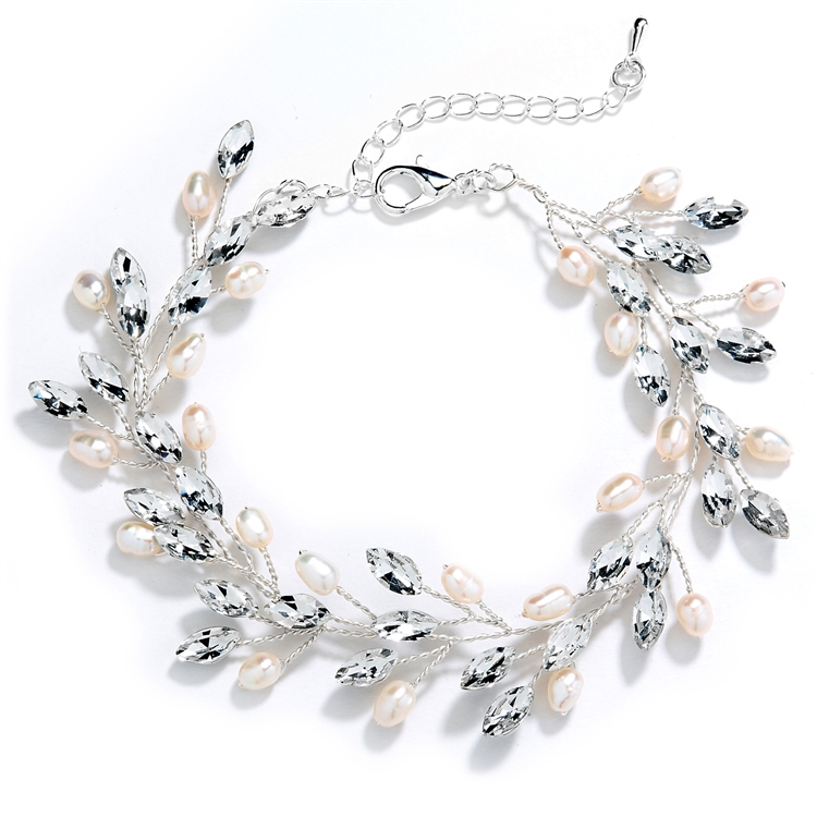 "Silver Bracelet with Crystals & Freshwater Pearls, Adjustable 7"" to 8 ½""<br>4597B-S"
