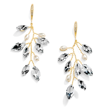 Gold Plated Crystal & Freshwater Pearl Vine Bridal Earrings<br>4597E-G