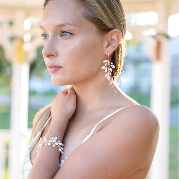Silver Vine Bridal Earrings with Crystals & Freshwater Pearls<br>4597E-S