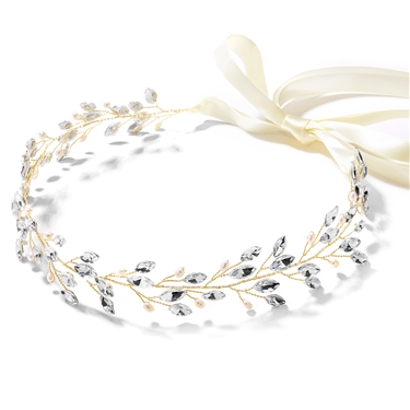 Handmade Gold Vine Headband with Crystals & Freshwater Pearls - Ivory Ribbon<br>4597HB-G