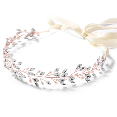 Rose Gold Jeweled Headband with Crystal Gems, Freshwater Pearls and Ivory Ribbon<br>4597HB-RG