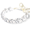 Silver Jeweled Vine Headband with Crystals, Freshwater Pearls and Ivory Ribbon<br>4597HB-S