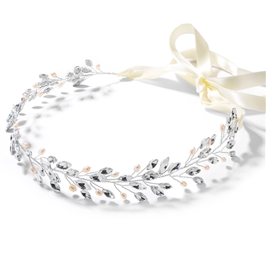 Silver Jeweled Headband with Crystal Gems, Freshwater Pearls and Ivory Ribbon<br>4597HB-S