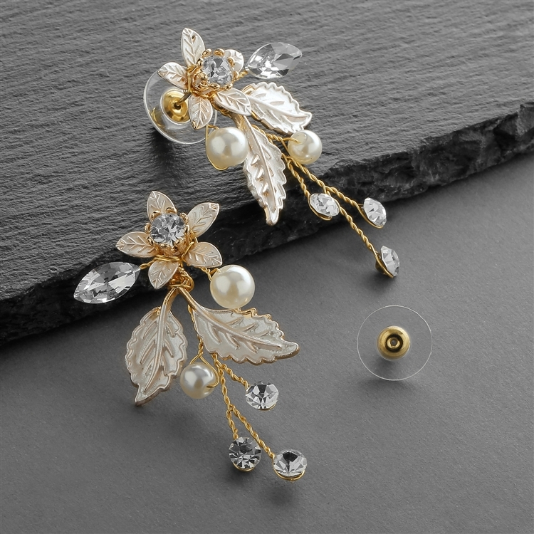 Gold Vine Earrings with Crystals, Matte Silvery Leaves & Ivory Pearls<br>4598E-G