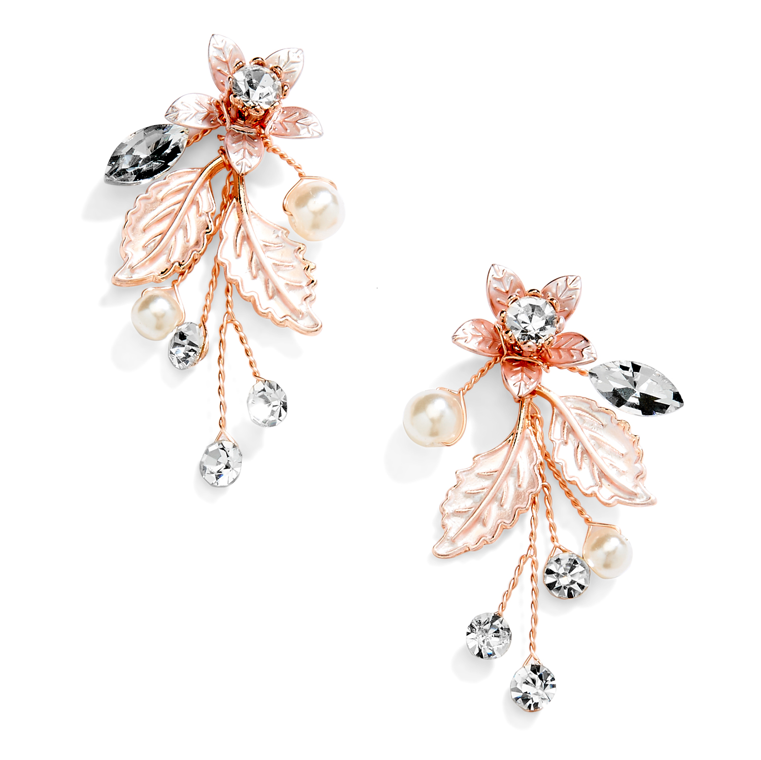 Rose Gold Vine Earrings with Crystals, Matte Silvery Leaves & Ivory Pearls<br>4598E-RG