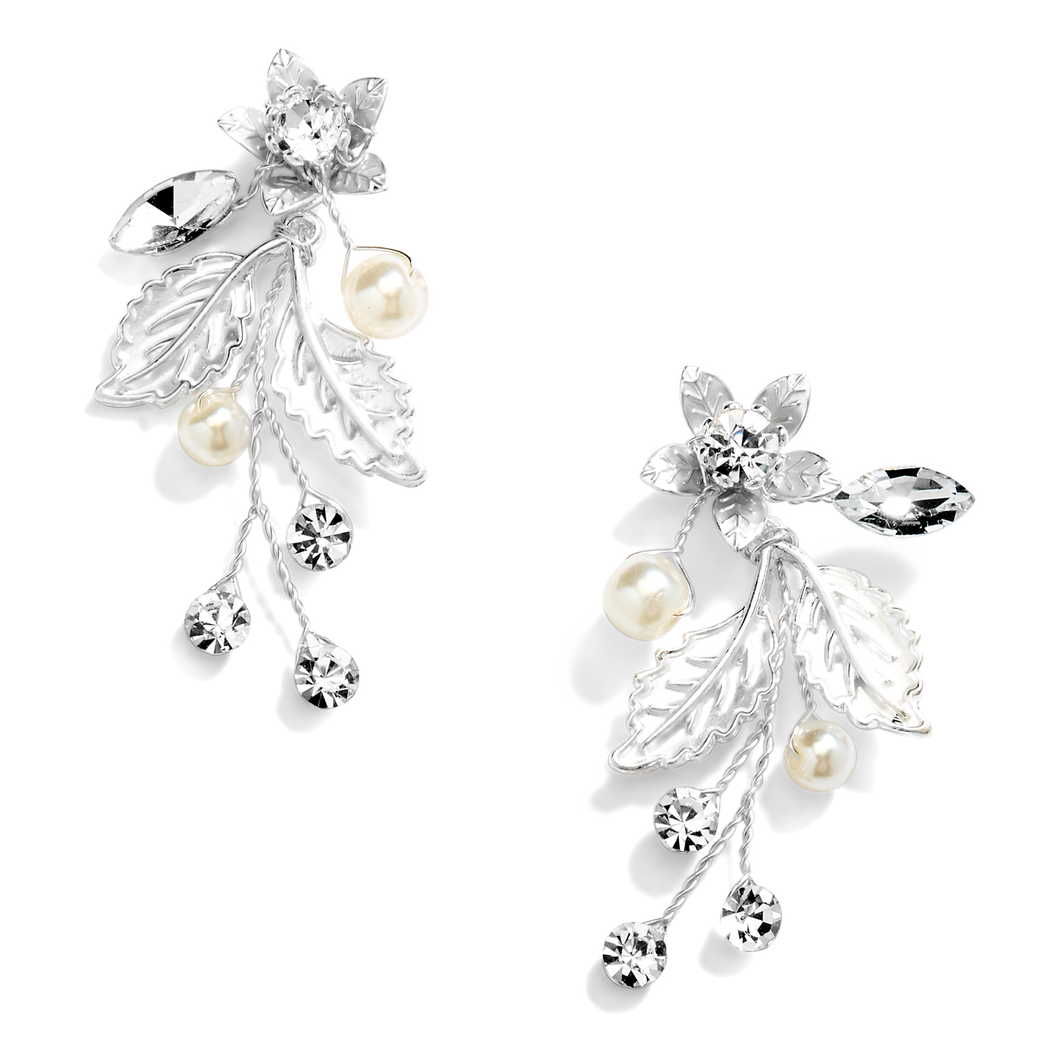Jeweled Earrings with Crystal Gems, Matte Silver Leaves and Ivory Pearls<br>4598E-S