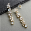 Cubic Zirconia and Opal Long Statement Gold Wedding Dangle Earrings<br>4599E-OP-G