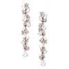 Cubic Zirconia and Opal Long Statement Rose Gold Wedding Dangle Earrings<br>4599E-OP-RG