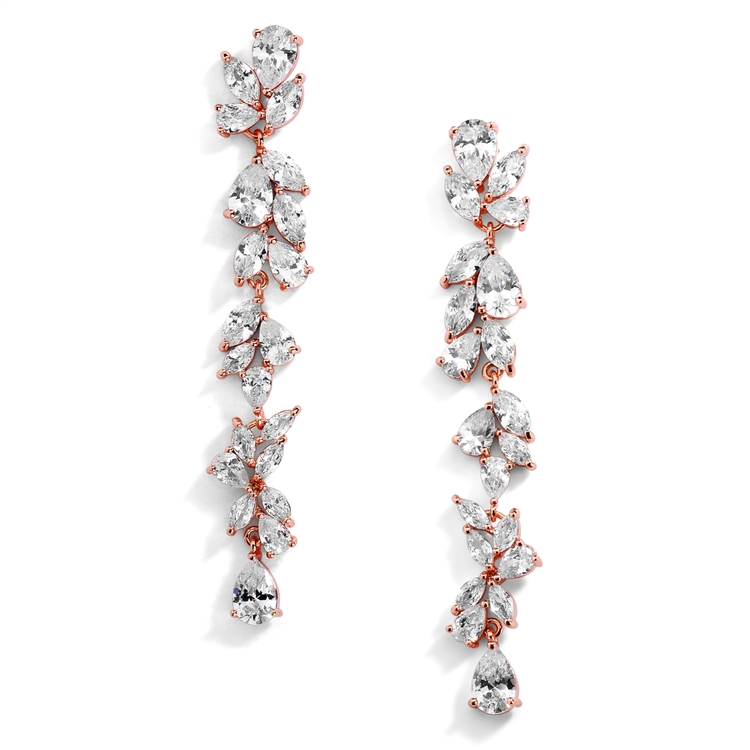 Cubic Zirconia Long Statement Rose Gold Wedding Dangle Earrings<br>4599E-RG