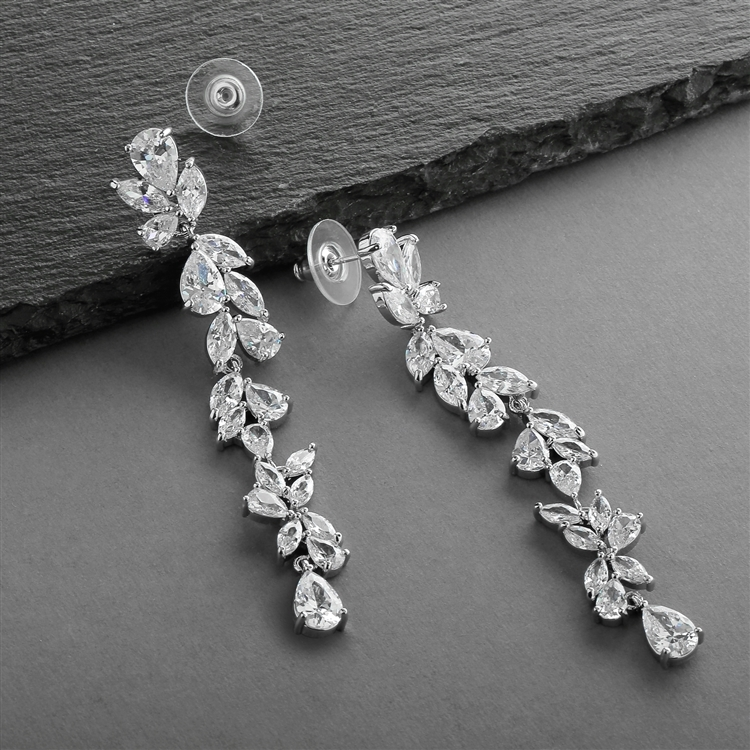 Cubic Zirconia Long Statement Wedding Dangle Earrings<br>4599E-S