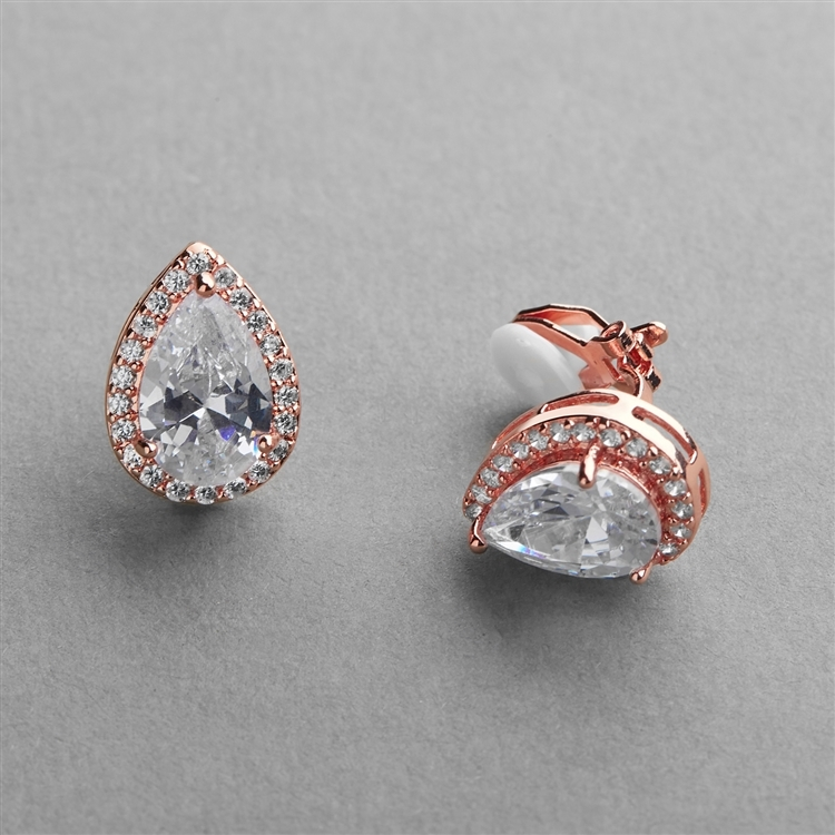 Rose Gold CZ Pear-Shape Wedding Clip-On Earrings<br>4600EC-RG