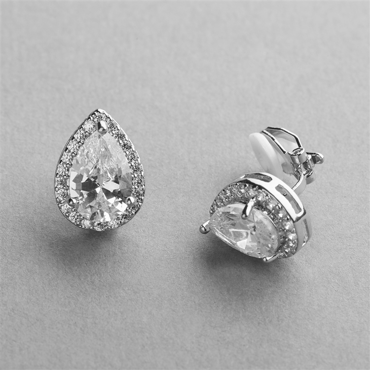 Silver Platinum CZ Pear-Shape Wedding Clip-On Earrings<br>4600EC-S