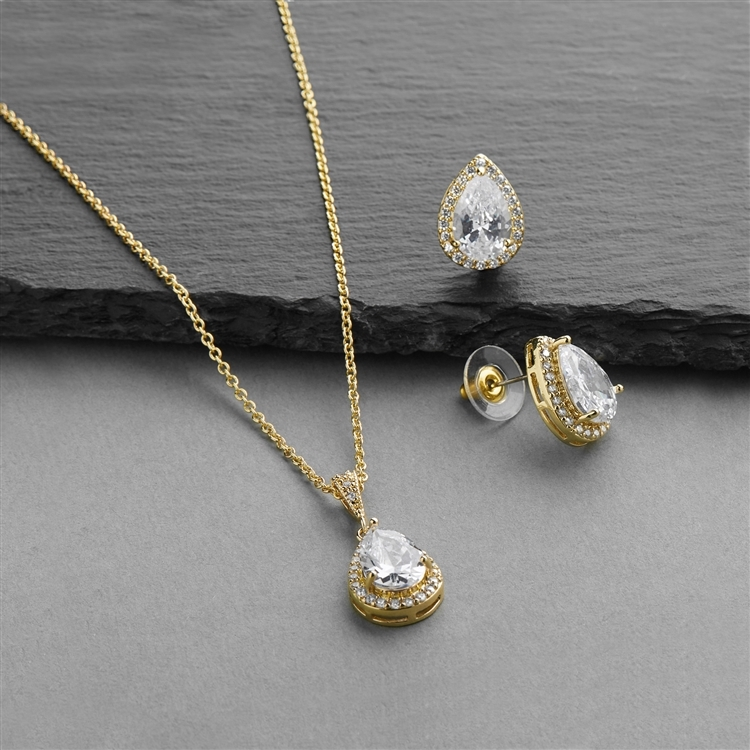 14K Gold CZ Pear-Shape Wedding Necklace & Earrings Jewelry Set<br>4600S-G