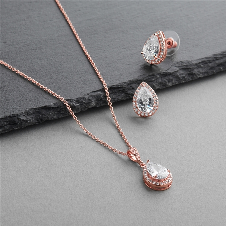 Rose Gold CZ Pear-Shape Wedding Necklace & Earrings Jewelry Set<br>4600S-G