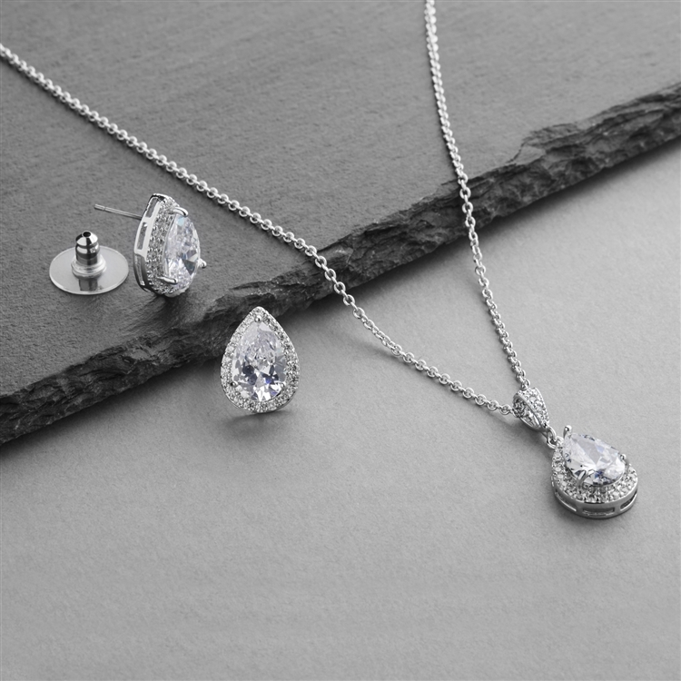 Silver Platinum CZ Pear-Shape Wedding Necklace & Earrings Jewelry Set<br>4600S-S