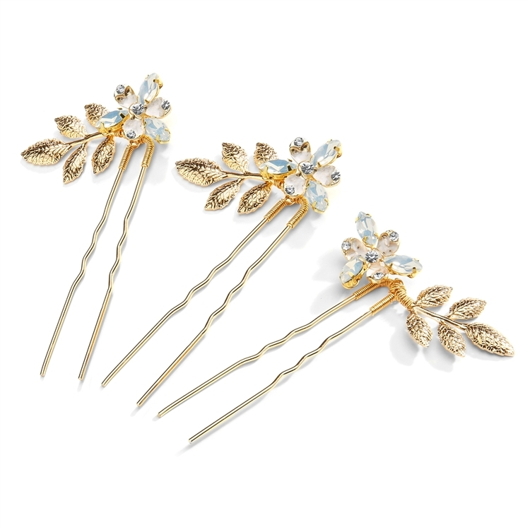 Bridal Hair Pins with Gold Leaves and White Opal Crystals - Set of Three Hair Sticks<br>4601HP-G