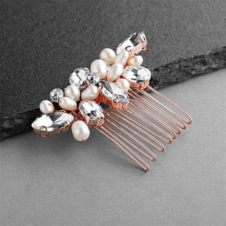 Rose Gold Freshwater Pearl & Crystal Cluster Bridal, Prom or Bridesmaids Comb<br>4602HC-RG