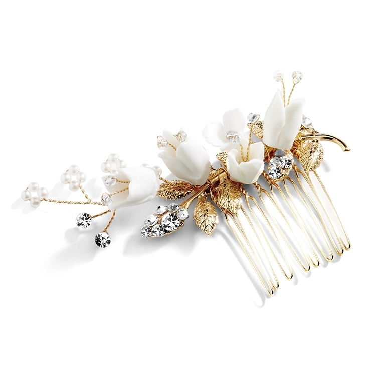Bridal Comb Gold Leaves & White Resin Flowers