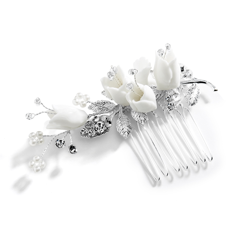 Bridal Hair Comb with Silver Leaves, White Resin Flowers and and Crystals<br>4603HC-S