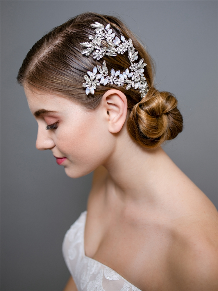 Couture Wedding Headpiece with White Opals and Clear Crystals<br>4604H-S