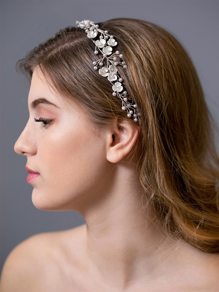 Designer Handmade Bridal Ribbon Headband with Soft Cream Flowers and Pearls<br>4605HB-I-S