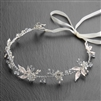 Handmade Bridal Ribbon Headband with Light Pink Blush Enamel Leaves, Pearls & Crystals<br>4606HB-I-S