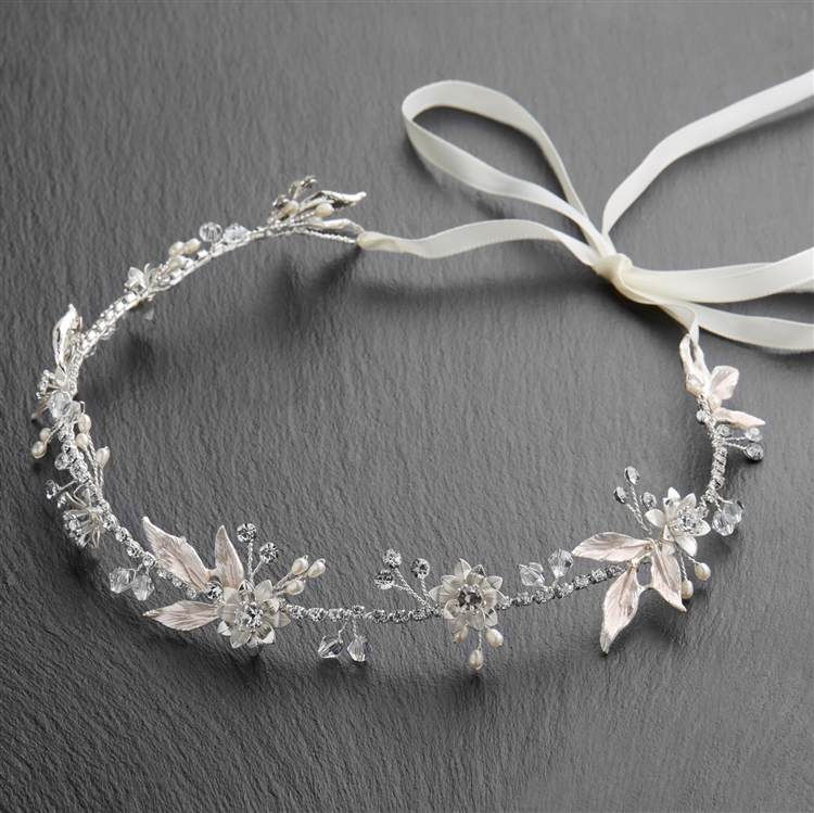 Bridal Ribbon Headband with Pink Enamel Leaves