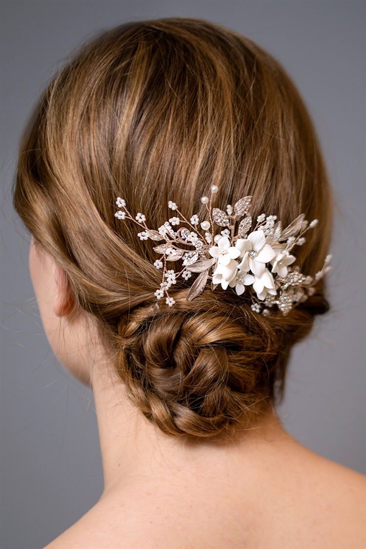 Rose Gold Bridal Hair Comb with White Flowers