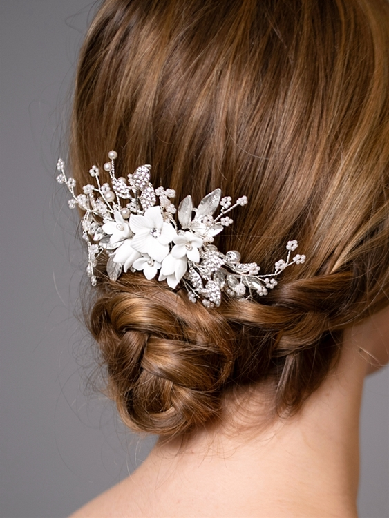 Bridal Hair Comb with White Resin Flowers