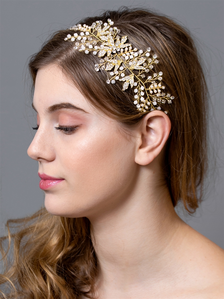 Opal Crystal Side Headband Hair Vine with Gold Leaves -  Antique Gold Ribbon<br>4608HB-G-G