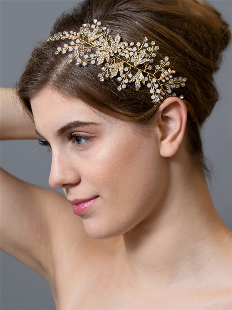 Gold Bridal Headband Vine with Clear and Opal Crystals on Ivory Ribbons<br>4608HB-I-G