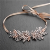 Opal & Rose Gold Bridal Side Headband Hair Vine with Crystal Leaves, Champagne Blush Ribbon<br>4608HB-RG-RG