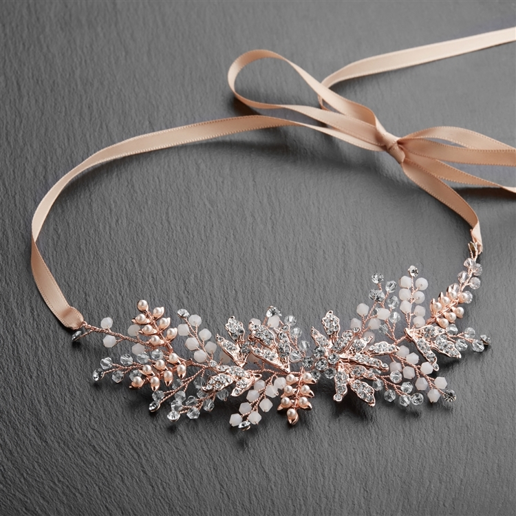 Rose Gold Bridal Headband Vine with Clear and Opal Crystals on Champagne Blush Ribbon<br>4608HB-RG-RG
