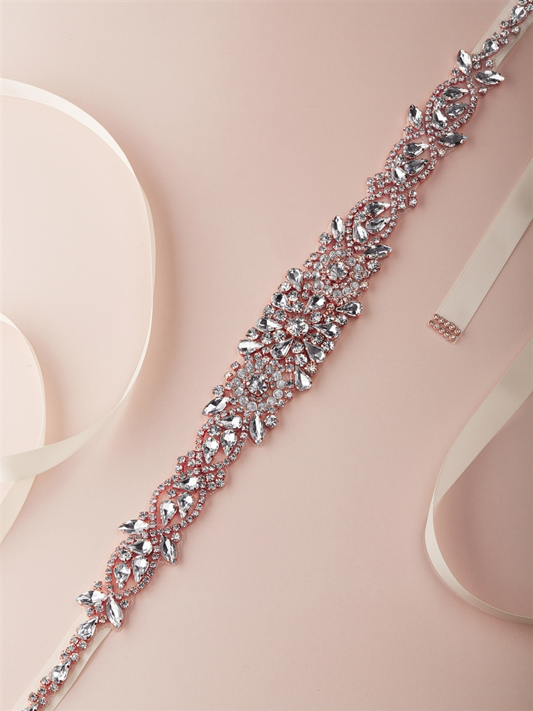 Stunning Rose Gold Bridal Belt with Crystals & Rhinestones on Ivory Ribbon<br>4609BT-I-RG