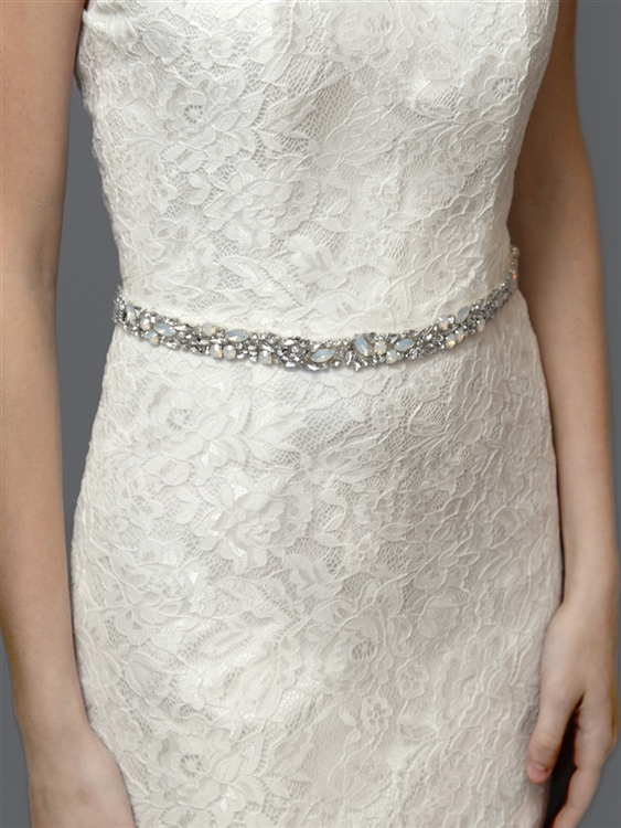 Silver Mosaic Bridal Belt with White Opal Crystals & Ivory Ribbon<br>4611BT-I-S