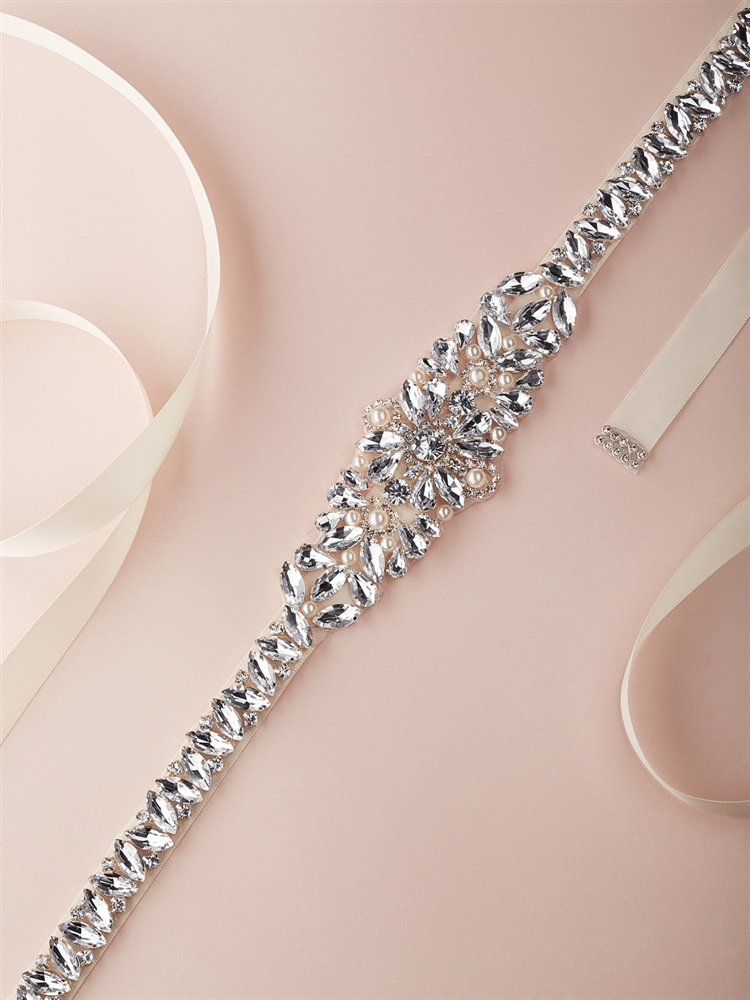 Tapered Silver Bridal Belt with Austrian Crystals and Ivory Pearls<br>4612BT-I-S
